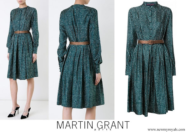 Crown Princess Mary wore Martin Grant Blue Printed Buttoned Dress