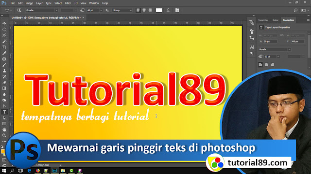 Cara mewarnai garis pinggir (stroke) teks di photoshop + Video