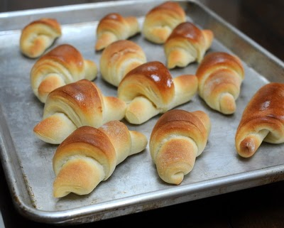 Homemade Butterhorns (aka Thanksgiving Crescent Rolls), my Iowa grandmother's recipe, a rich yeast dough shaped in the familiar 'cornucopia' shapes that so suit a Thanksgiving table. From Kitchen Parade.