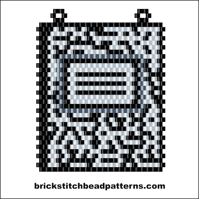 Free brick stitch seed bead necklace pendant pattern color chart