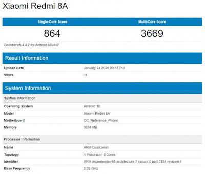 Xiaomi Redmi 8A yang menjalankan Android 10 terlihat di Geekbench