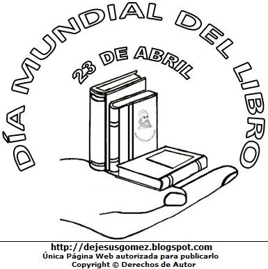 Dibujo alusivo al Día Mundial del Libro para colorear, pintar e imprimir para niños. Imagen del Día Mundial del Libro de Jesus Gómez