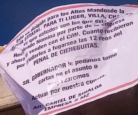 Narcomantas del Mayo Zambada en Cieneguilla; Zacatecas