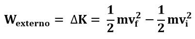 Ecuación de trabajo externo para deducir el Principio de Bernoulli