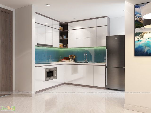 Thiết kế và thi công từ xây dựng thô cho đến hoàn thiện nội thất căn hộ chung cư Saigon South Residences Phú Mỹ Hưng - SSR - Phòng bếp