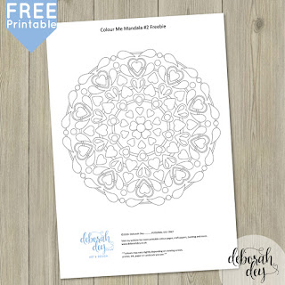 free printable colouring heart mandala by deborah dey