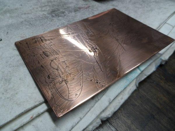 Plaque de cuivre gravée et encrée : taille douce