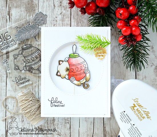 Newton's Nook Designs & Xyron Inspiration Week - Christmas cat card by Tatiana Trafimovich | Ornamental Newton Stamp Set & Pines and Holly Die Set by Newton's Nook Designs #newtonsnook
