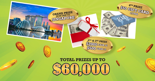 Natural beverage maker, Yeo's has a great instant win game full of excellent cash prizes and you could even win the grand prize trip to Singapore!