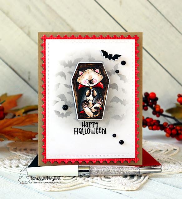 Halloween Vampire Cat Card by Larissa Heskett   Count Newton Stamp Set, Flying Bats Stencil and Framework Die Set by Newton's Nook Designs #newtonsnook