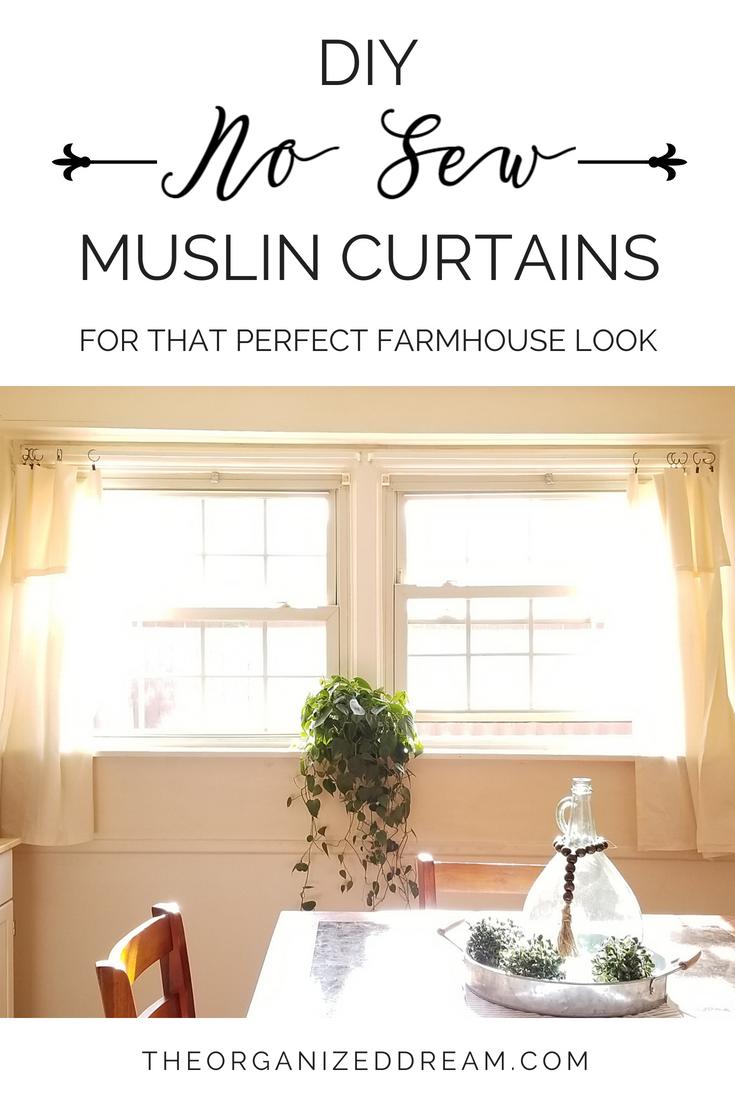 DIY No Sew Muslin Curtains