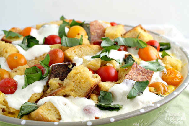 This creamy & savory Caprese Tomato Bread Pudding is a delicious & easy way to enjoy the fresh flavors of the summer season.