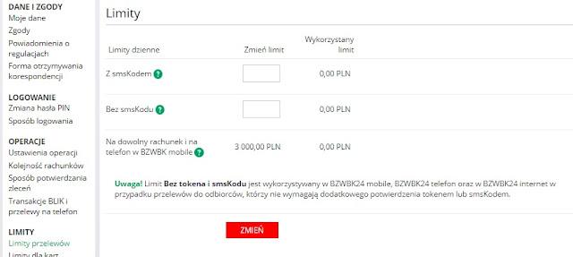 Ustawienie limitów transakcji w BZWBK