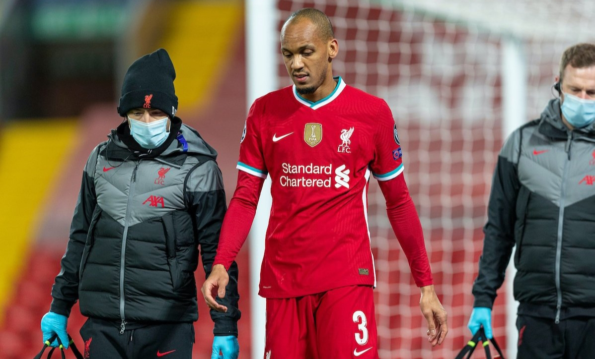 Fabinho injured against Midtjylland.