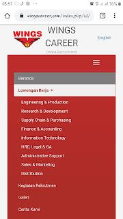 Cara daftar online lowongan kerja PT Wing