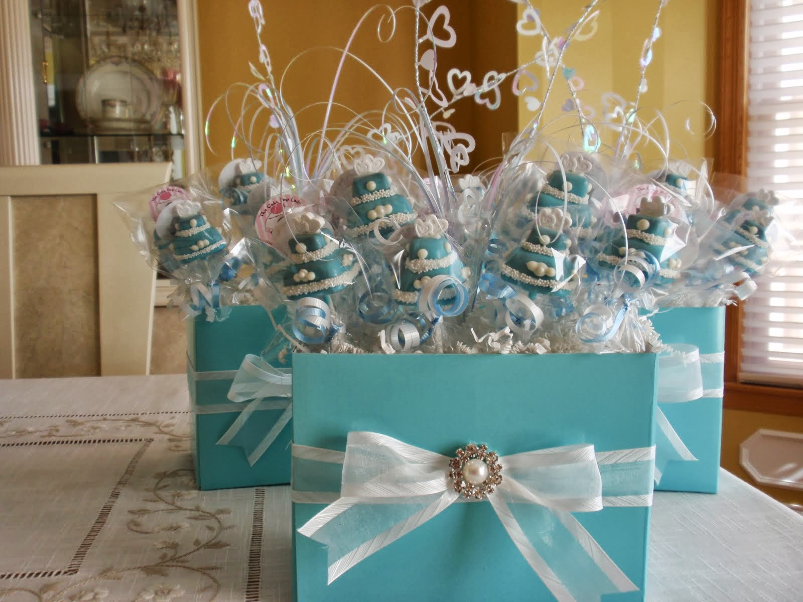 Sweet Centerpiece Idea Tiffany Blue Cake Centerpieces Making