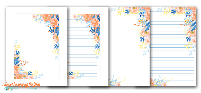 Coral and Blue Stationery