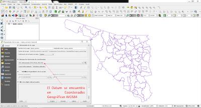 DATUM en QGIS verificar el Sistema de coordenadas