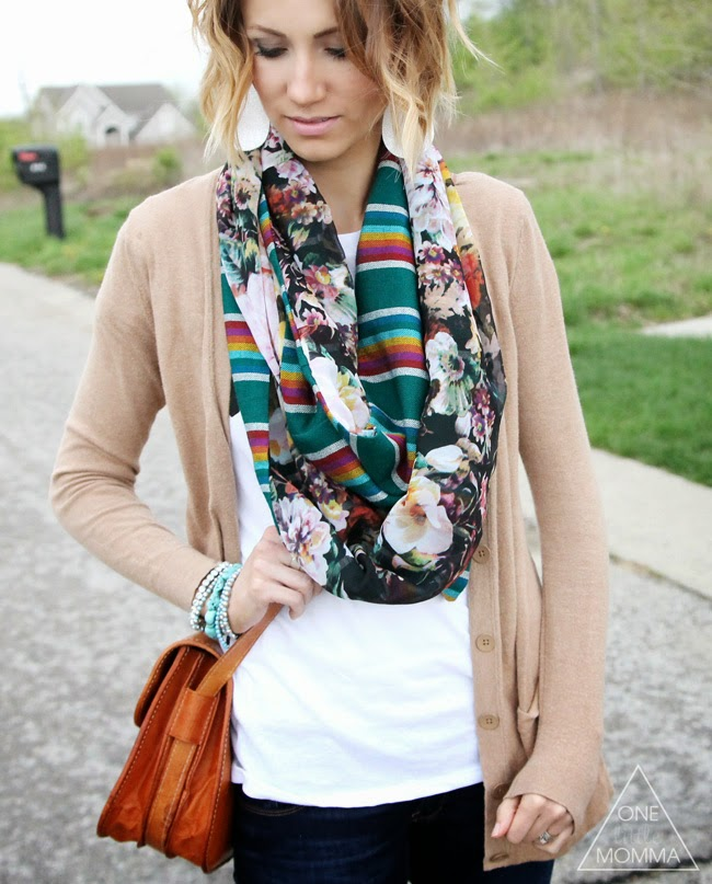 Camel cardigan, mixed print scarf, turquoise jewelry