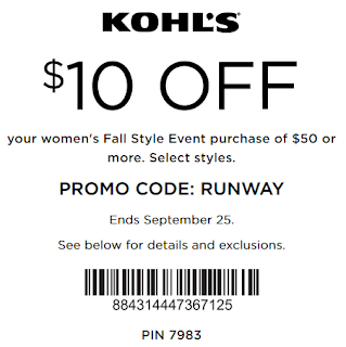 Kohls coupon extra $10 off $50 women's purchase 2016