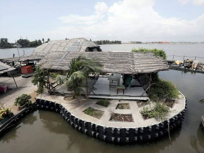 Floating island resort, Ivory Coast | The floating island built from 700,000 plastic bottles