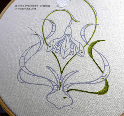 Galanthus Collector (crewel embroidery): right hand lower leaf completed with chain stitched shading