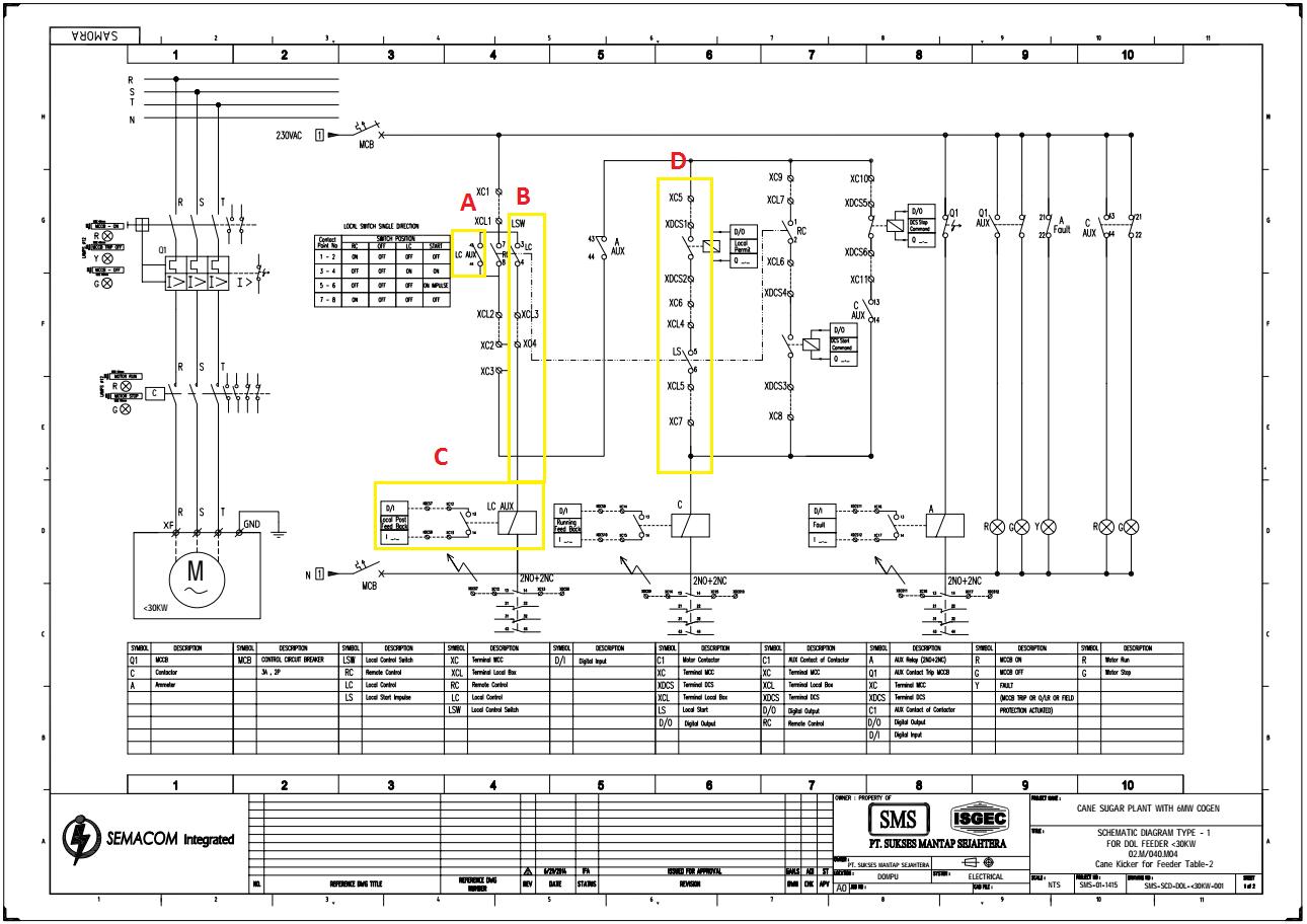 (Updated!) Cara membaca Wiring Control Diagram untuk Starter Motor DOL (Direct On Line) Menggunakan Switch LCS