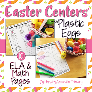 Easter Worksheets to use with plastic eggs to practice literacy skills like compound words, word families and contractions.