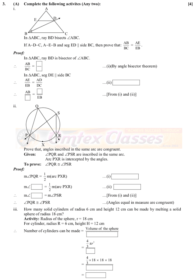 Complete Solution March 2019 Mathematics Part II, SSC 10thStandard, Maharashtra State Board,