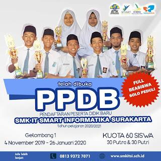 Informasi Pendaftaran SMK Gratis Smart Informatika Solopeduli Tahun 2020 (PPDB SMK IT Smart Informatika)