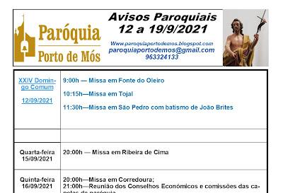 Avisos Paroquiais - 12/09/2021