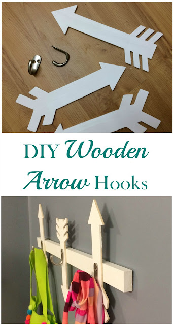 I created this Wooden Arrow Wall Hooks project out of scrap wood to hold swimsuits and beach bags.