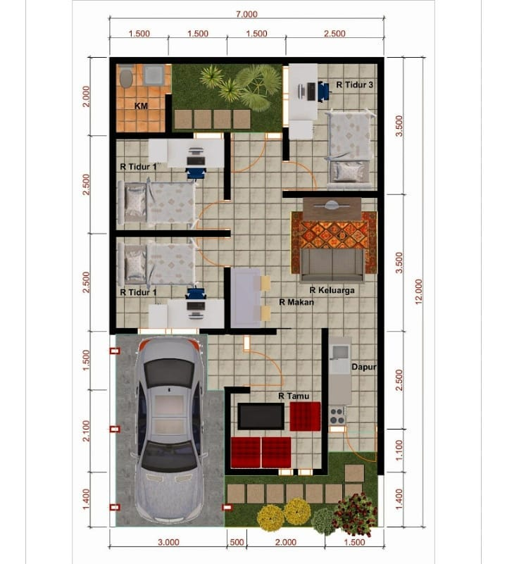Kumpulan Desain Dan Denah Rumah Type 60 Dengan 3 Kamar ...