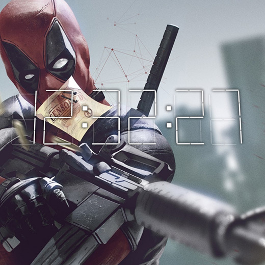 Deadpool + 3D Digital Clock Wallpaper Engine