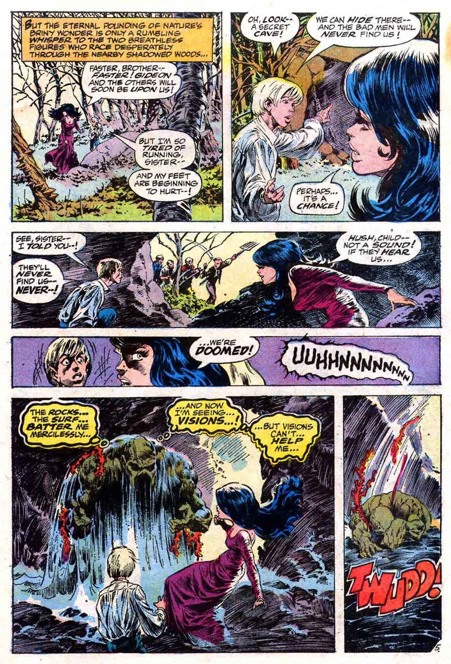 Swamp Thing v1 #5 1970s bronze age dc comic book page art by Bernie Wrightson