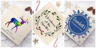A collage featuring three different examples of personalised Christmas Eve boxes, one with a reindeer and two with different Christmas-inspired patterns
