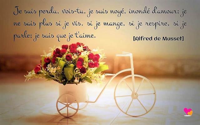Phrase d'amour d'Alfred de Musset.
