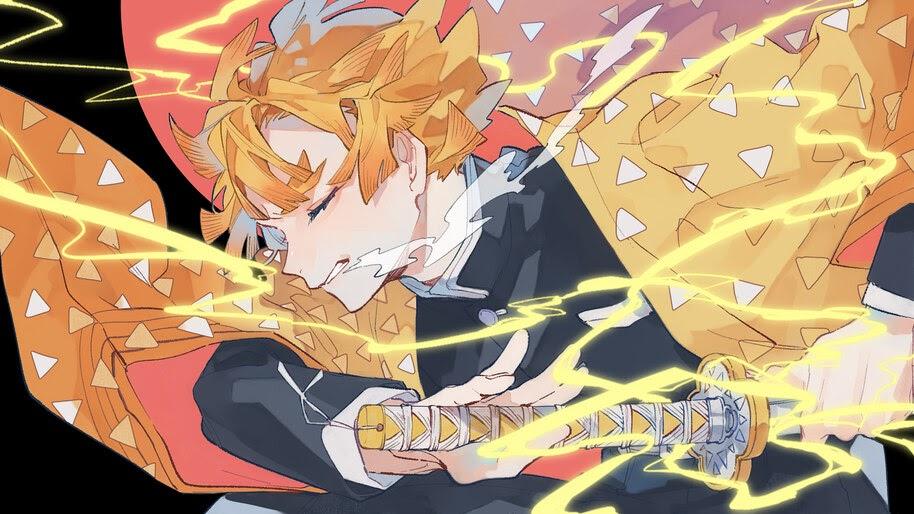 Zenitsu, Breath of Thunder, Kimetsu no Yaiba, 4K, #3.1416