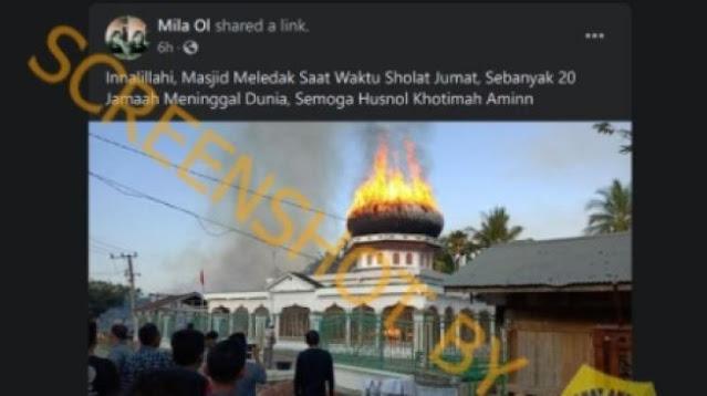 Viral Masjid Meledak Tewaskan 20 Orang di Aceh, Ini Faktanya