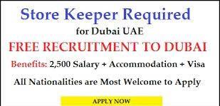 Warehouse Storekeeper Job Vacancy in Dubai