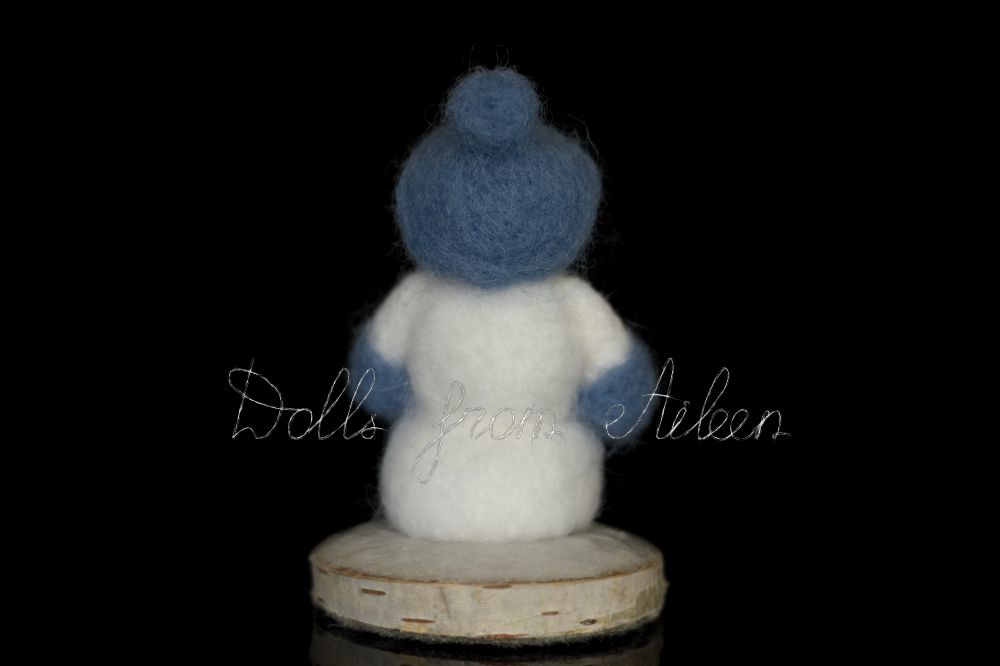 OOAK neelde felted snowman on stand, back view