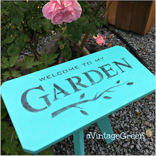 stenciled diy garden stool decor