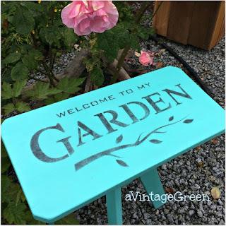 stenciled diy garden stool decor