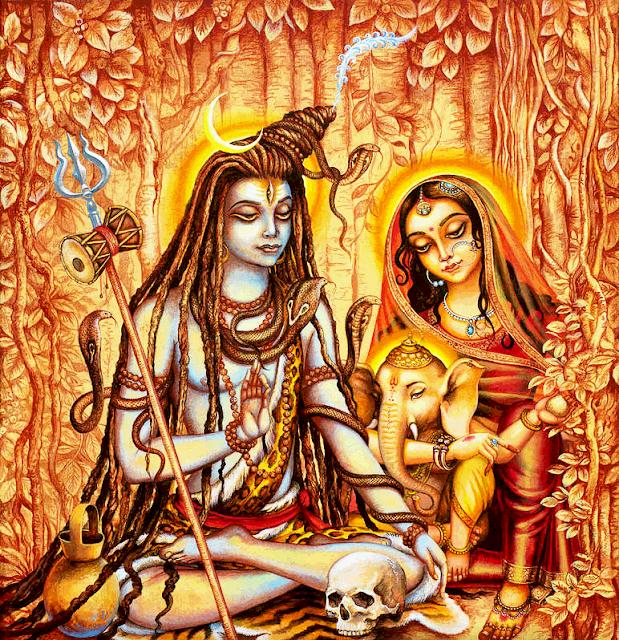 Lord Ganesh And Shiv Parvati