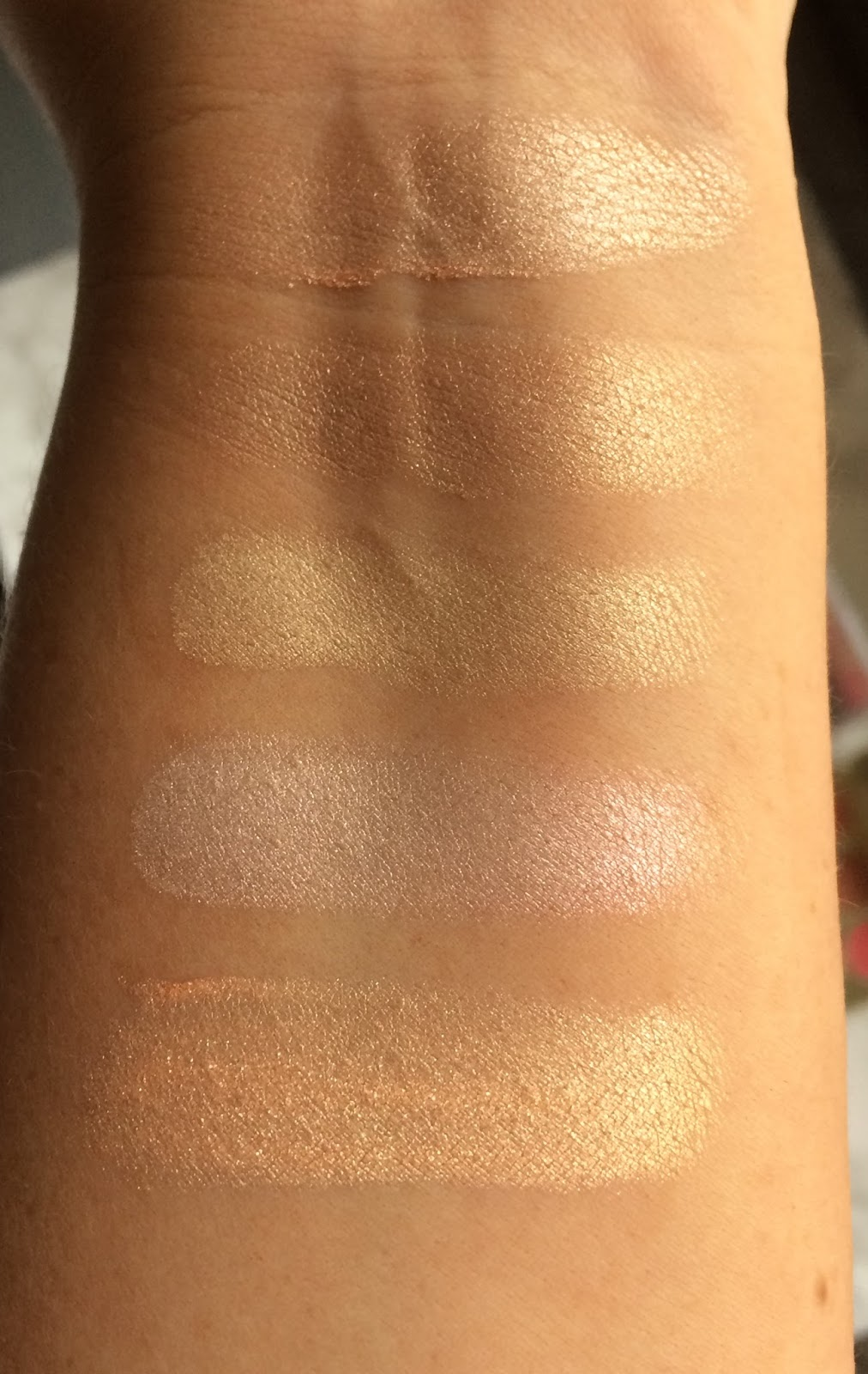 Champagne Pop, MaryLou Manizer, DIOR, MAC Soft & Gentle, Make Up Forever Golden Pink swatches