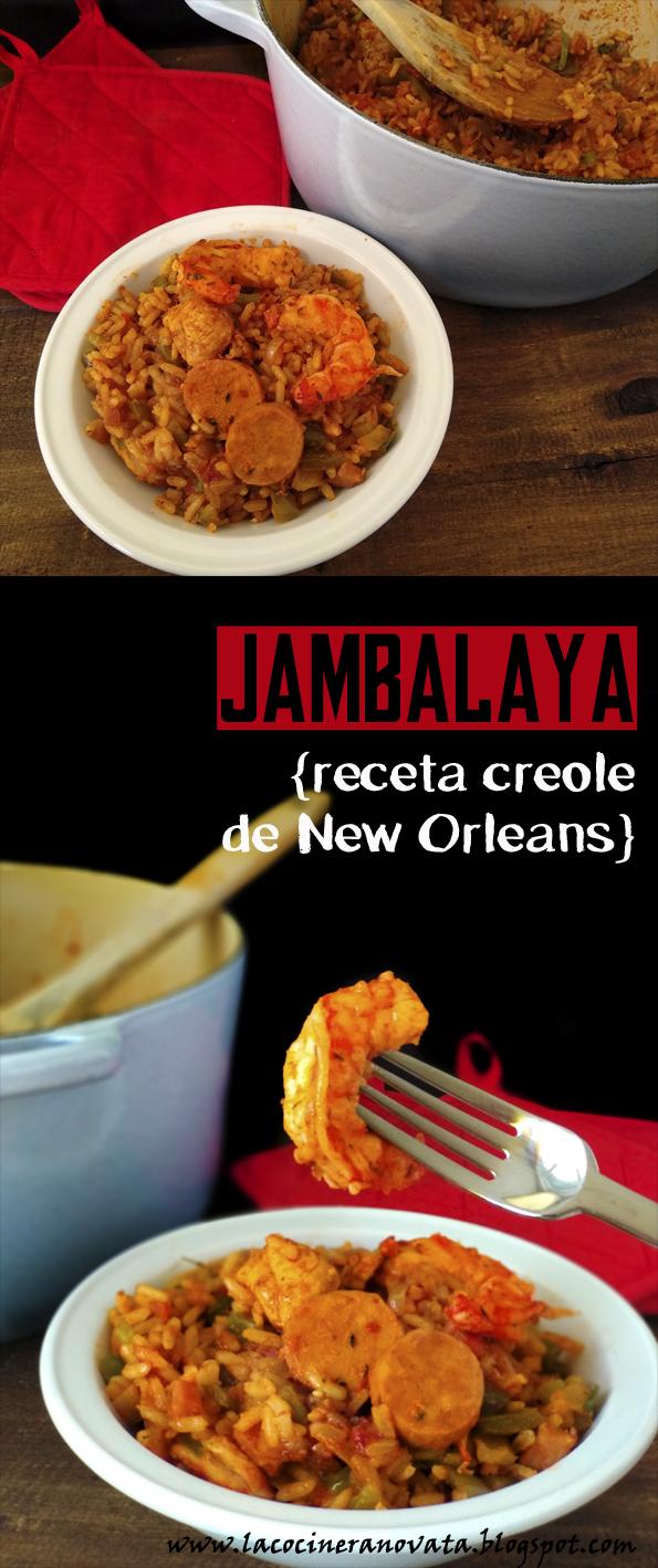JAMBALAYA RECETA CREOLE DE NEW ORLEANS la cocinera novata receta cocina arroz aves pollo americana sureña cajun tupper marisco salchicha andouille