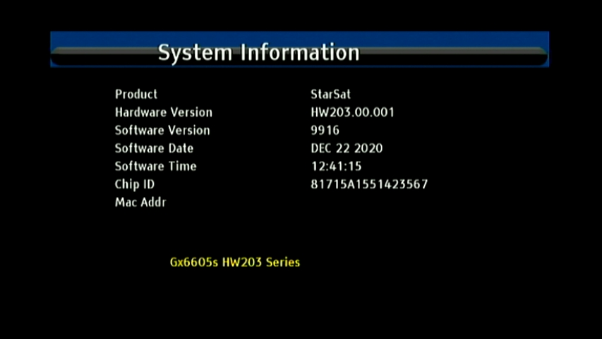 GX6605S HW203 STARSAT TITAN NEW SOFTWARE