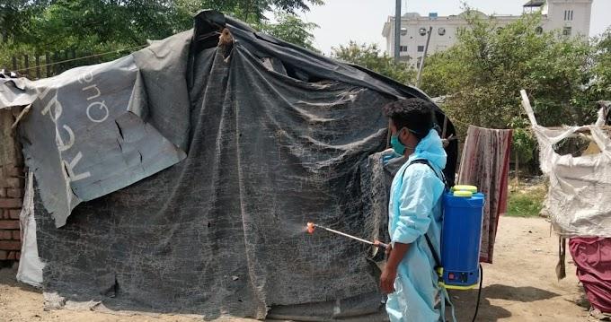 नगर निगम के सहयोग से विज्ञान फाउंडेशन ने मलिन बस्तियों को किया सैनेटाइज