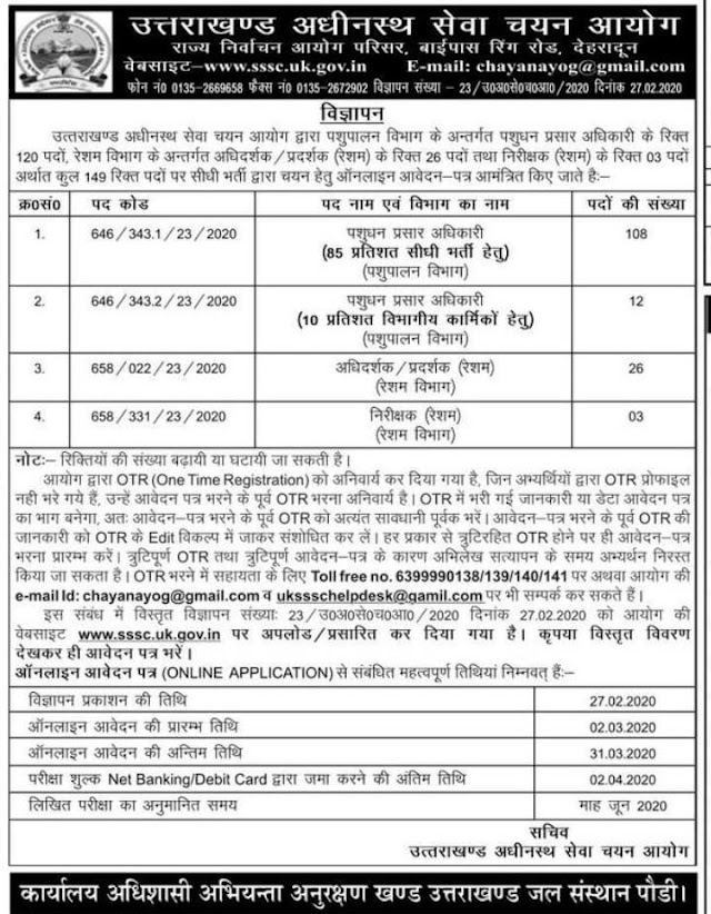 UKSSSC RECRUITMENT 2020/ANIMAL SCIENCE(BIOLOGY) & AGRICULTURE