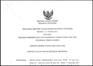 Permendagri No 12 Tahun 2017 Tentang Pedoman Pembentukan dan Klasifikasi Cabang Dinas dan UPTD